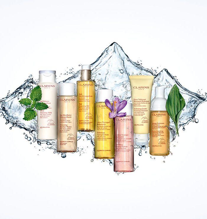 Clarins te acerca a las montañas con su nueva línea de cuidados básicos para la limpieza del rostro